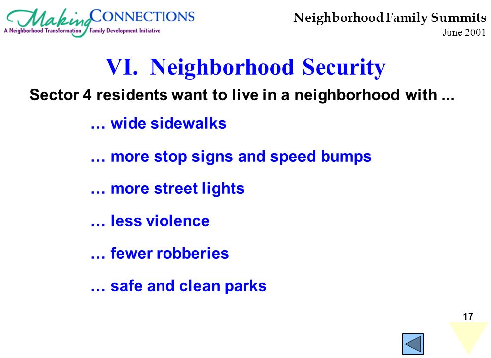 17 Neighborhood Family Summits June 2001 … wide sidewalks … more stop signs and speed bumps … more street lights … less violence … fewer robberies … safe and clean parks Sector 4 residents want to live in a neighborhood with...