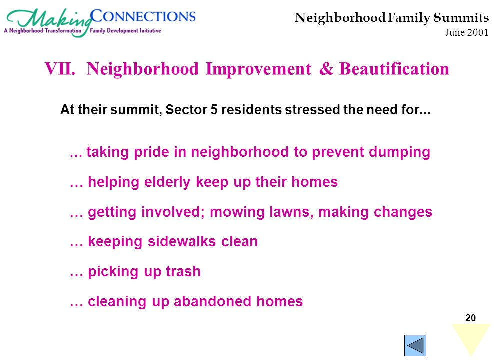 20 Neighborhood Family Summits June 2001 … taking pride in neighborhood to prevent dumping … helping elderly keep up their homes … getting involved; mowing lawns, making changes … keeping sidewalks clean … picking up trash … cleaning up abandoned homes At their summit, Sector 5 residents stressed the need for...
