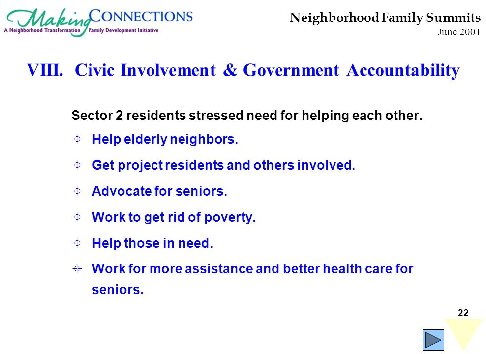 22 Sector 2 residents stressed need for helping each other. Help elderly neighbors. Get project residents and others involved. Advocate for seniors. W