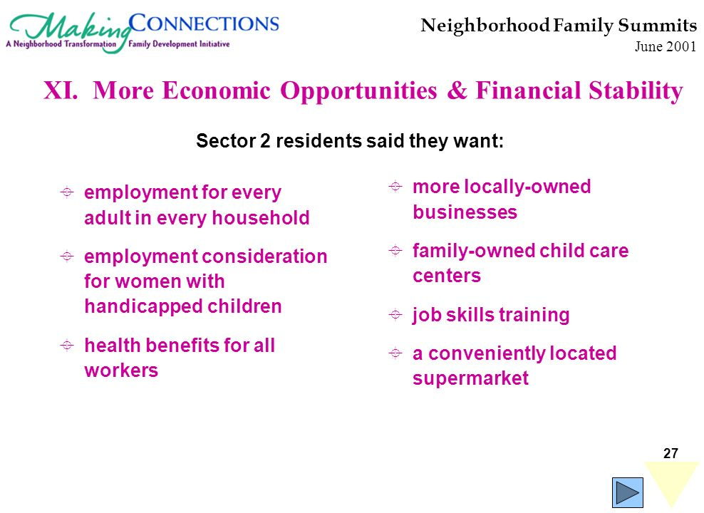27 Neighborhood Family Summits June 2001 employment for every adult in every household employment consideration for women with handicapped children he