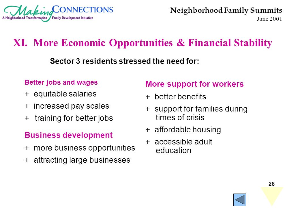 28 Neighborhood Family Summits June 2001 XI. More Economic Opportunities & Financial Stability Better jobs and wages + equitable salaries + increased