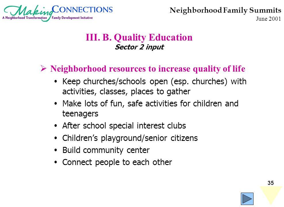35 Neighborhood Family Summits June 2001 III. B. Quality Education Sector 2 input Neighborhood resources to increase quality of life Keep churches/sch