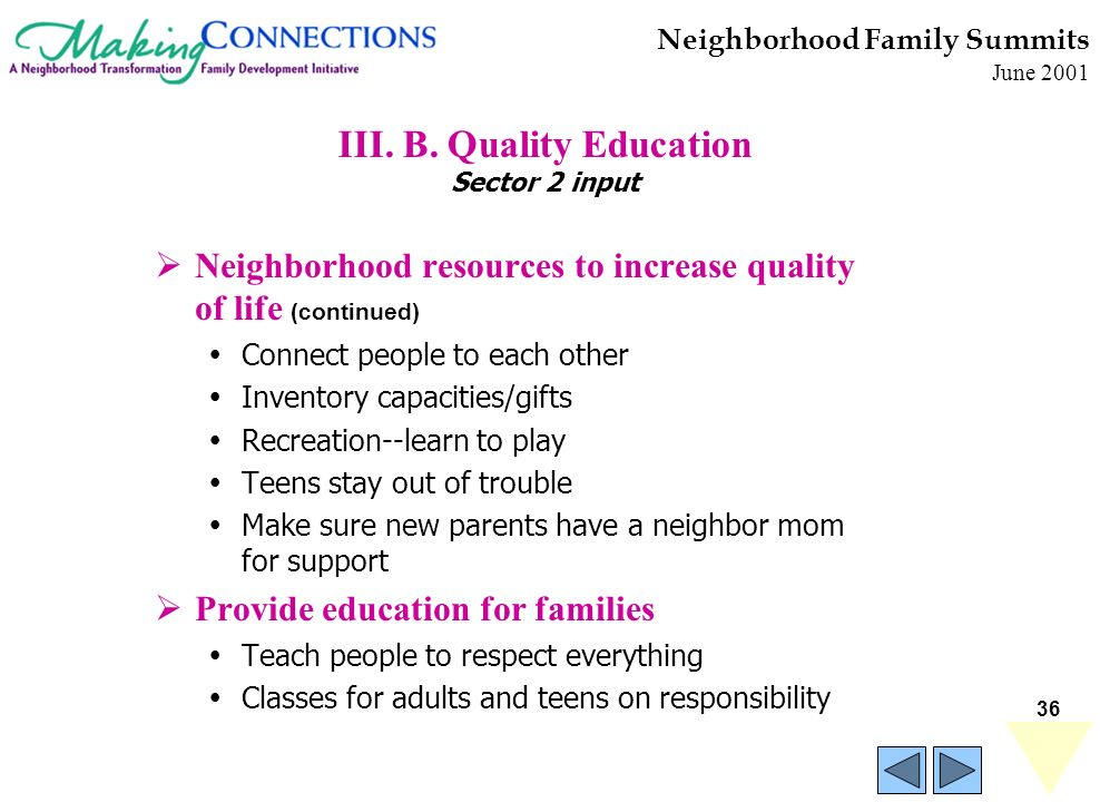 36 Neighborhood Family Summits June 2001 III. B. Quality Education Sector 2 input Neighborhood resources to increase quality of life (continued) Conne
