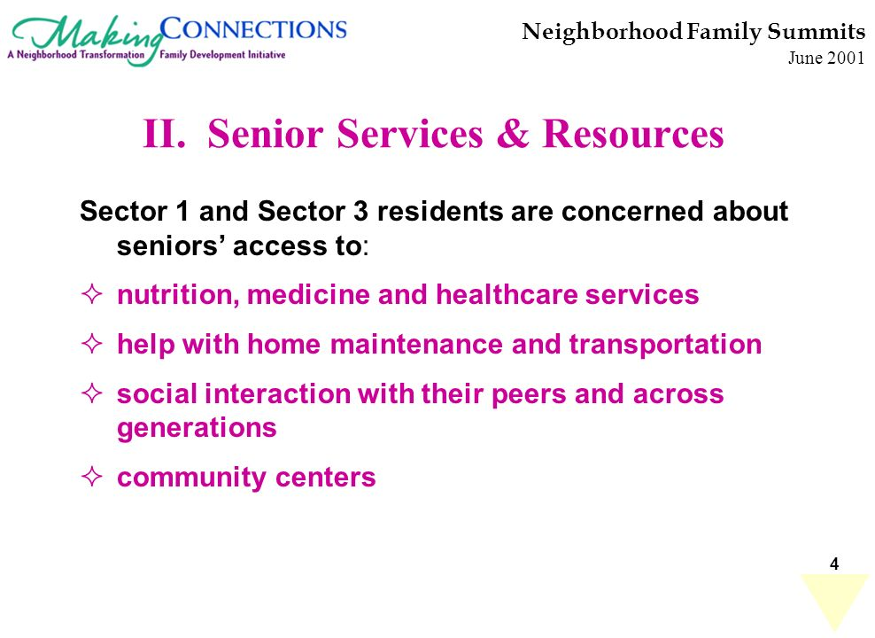 4 II. Senior Services & Resources Sector 1 and Sector 3 residents are concerned about seniors access to: nutrition, medicine and healthcare services h