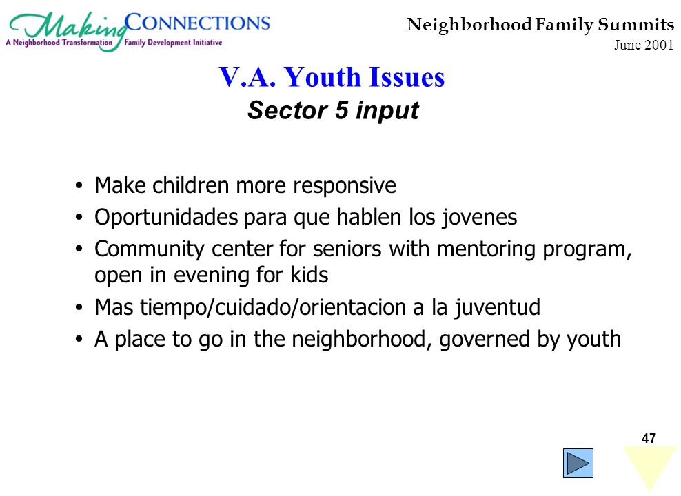 47 Neighborhood Family Summits June 2001 V.A. Youth Issues Sector 5 input Make children more responsive Oportunidades para que hablen los jovenes Comm