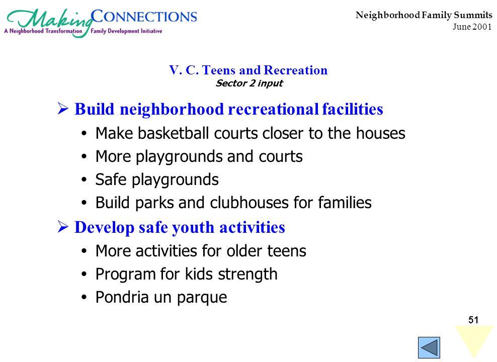 51 Neighborhood Family Summits June 2001 V. C. Teens and Recreation Sector 2 input Build neighborhood recreational facilities Make basketball courts c