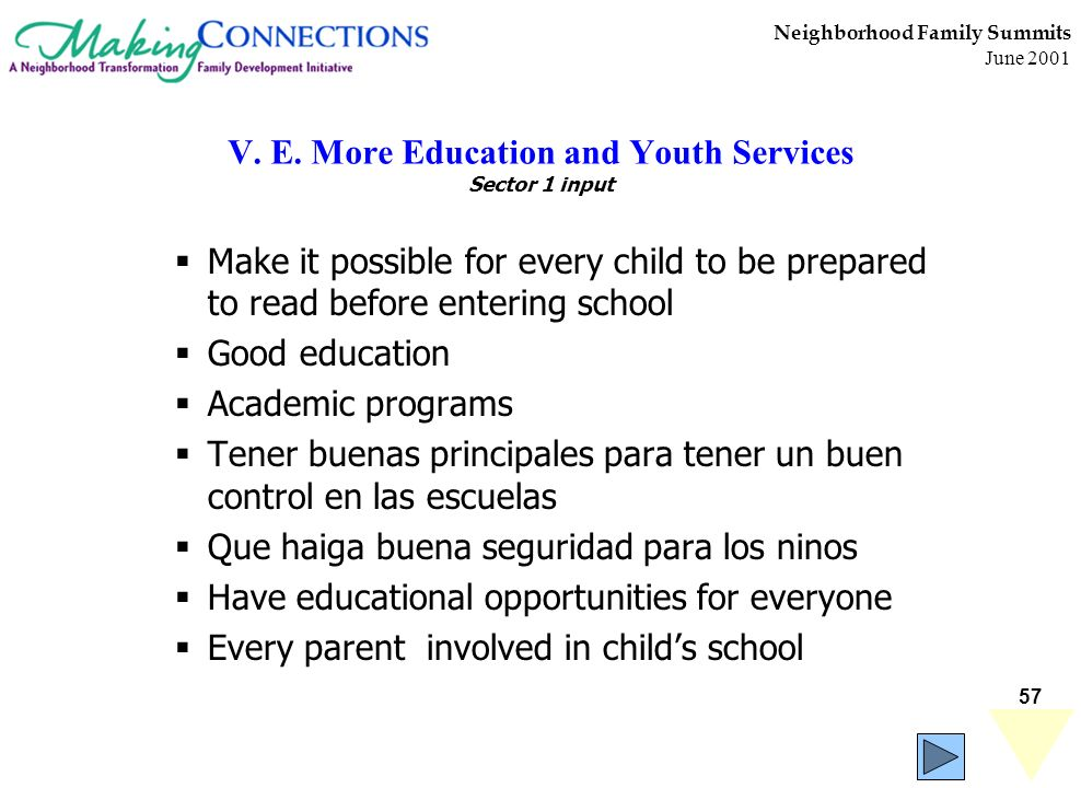 57 Neighborhood Family Summits June 2001 V. E. More Education and Youth Services Sector 1 input Make it possible for every child to be prepared to rea