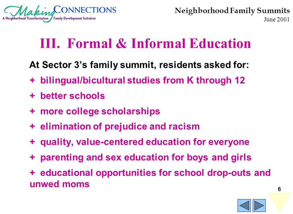 6 Neighborhood Family Summits June 2001 At Sector 3s family summit, residents asked for: + bilingual/bicultural studies from K through 12 + better schools + more college scholarships + elimination of prejudice and racism + quality, value-centered education for everyone + parenting and sex education for boys and girls + educational opportunities for school drop-outs and unwed moms III.