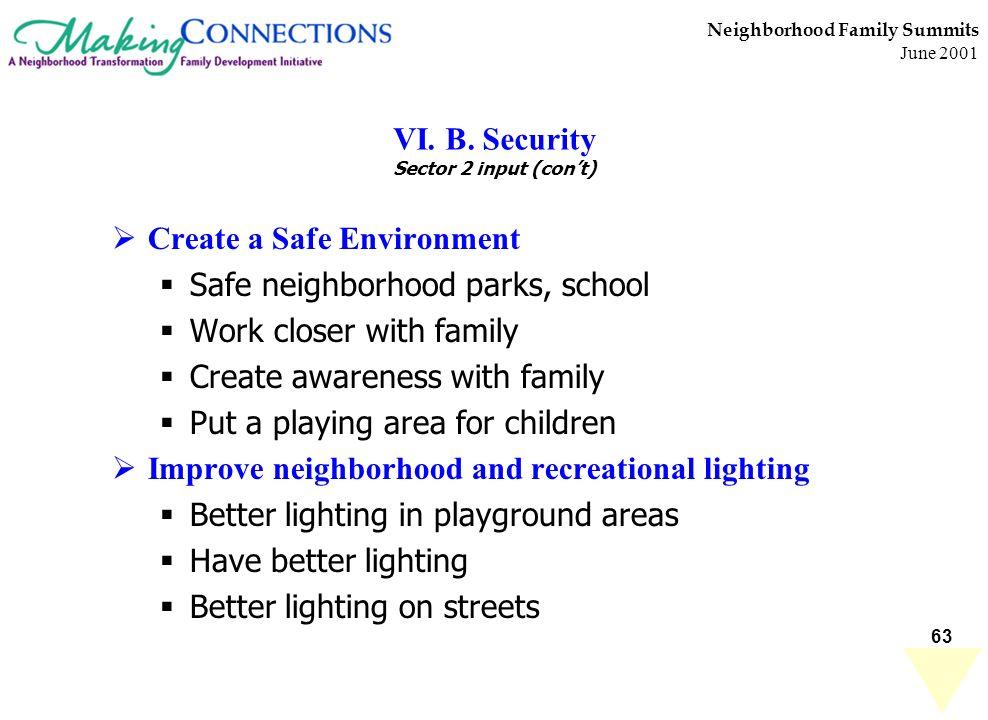 63 Neighborhood Family Summits June 2001 VI. B. Security Sector 2 input (cont) Create a Safe Environment Safe neighborhood parks, school Work closer w