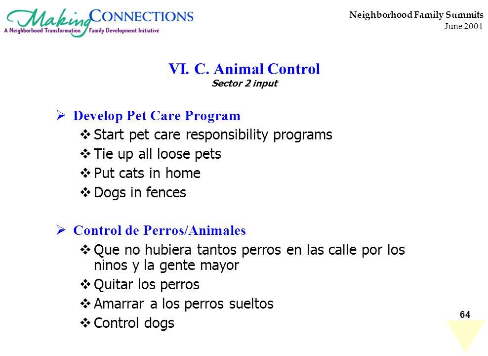 64 Neighborhood Family Summits June 2001 VI. C. Animal Control Sector 2 input Develop Pet Care Program Start pet care responsibility programs Tie up a