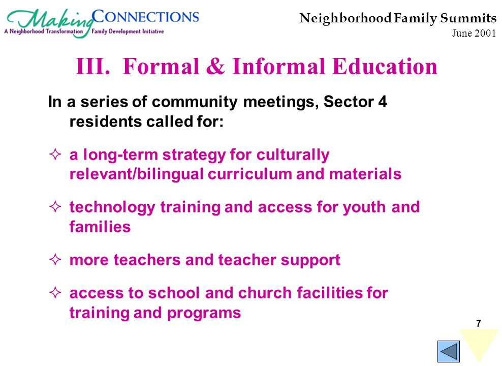7 In a series of community meetings, Sector 4 residents called for: a long-term strategy for culturally relevant/bilingual curriculum and materials technology training and access for youth and families more teachers and teacher support access to school and church facilities for training and programs Neighborhood Family Summits June 2001 III.