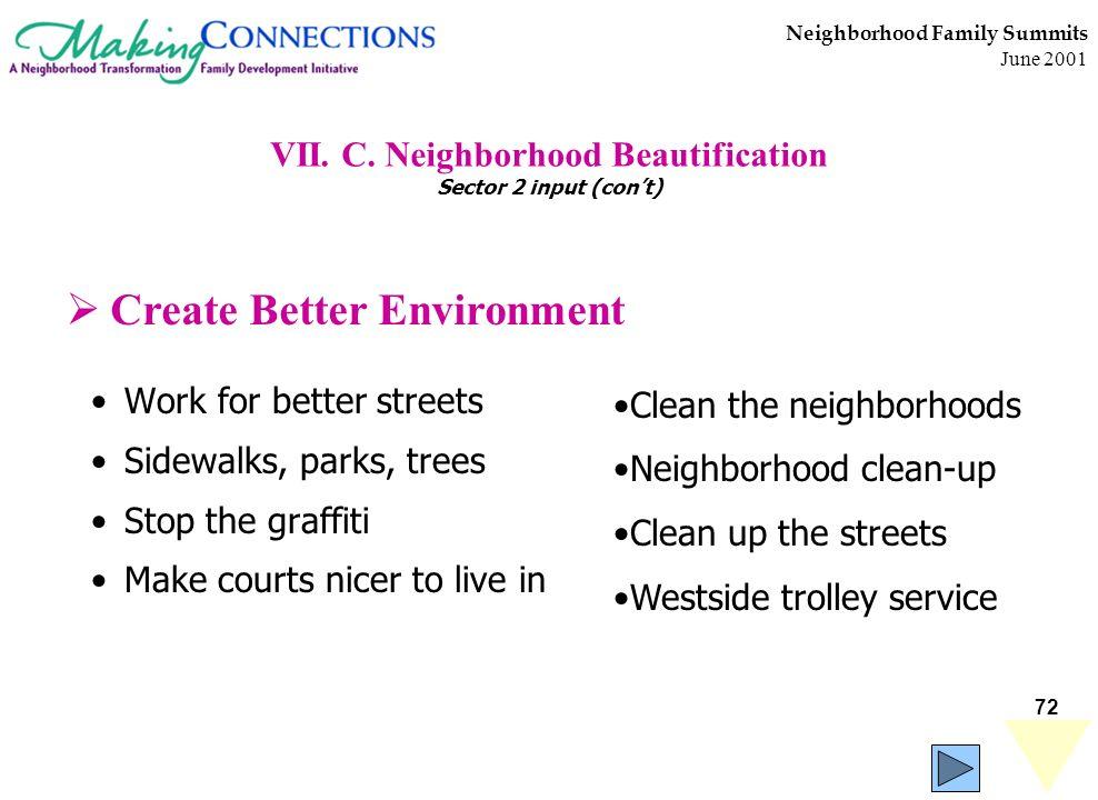 72 Neighborhood Family Summits June 2001 VII. C. Neighborhood Beautification Sector 2 input (cont) Work for better streets Sidewalks, parks, trees Sto