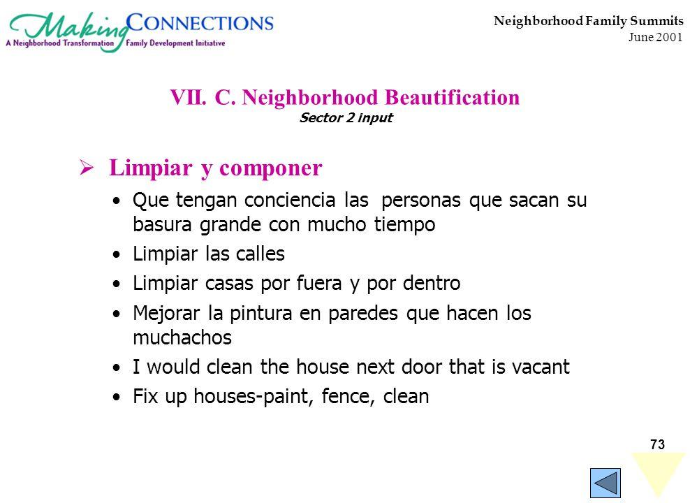 73 Neighborhood Family Summits June 2001 VII. C. Neighborhood Beautification Sector 2 input Limpiar y componer Que tengan conciencia las personas que