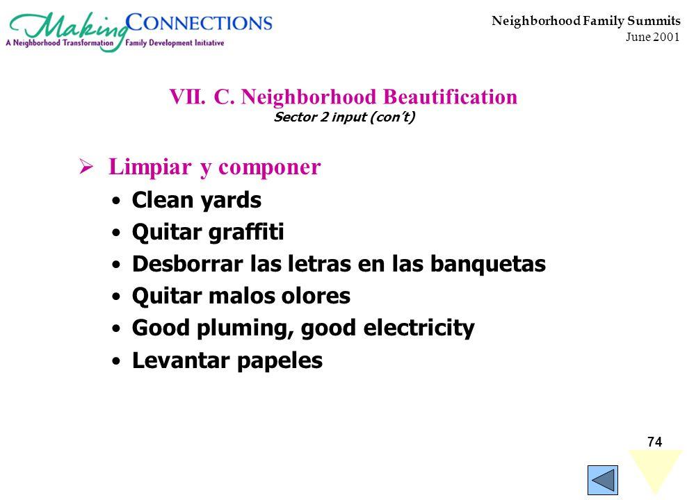 74 Neighborhood Family Summits June 2001 VII. C. Neighborhood Beautification Sector 2 input (cont) Limpiar y componer Clean yards Quitar graffiti Desb