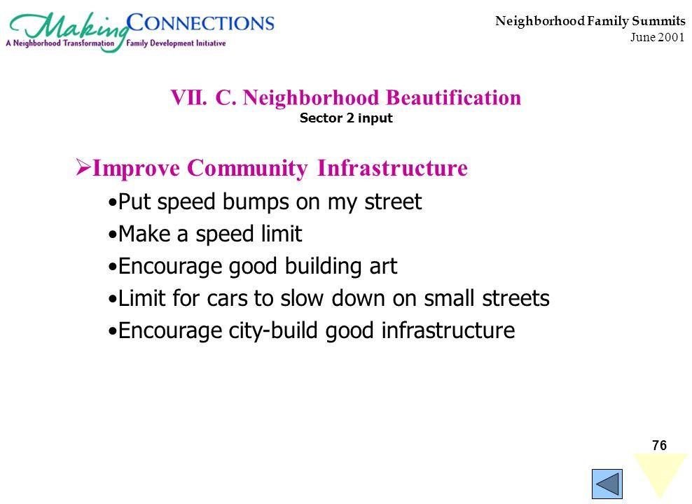 76 Neighborhood Family Summits June 2001 VII. C. Neighborhood Beautification Sector 2 input Improve Community Infrastructure Put speed bumps on my str
