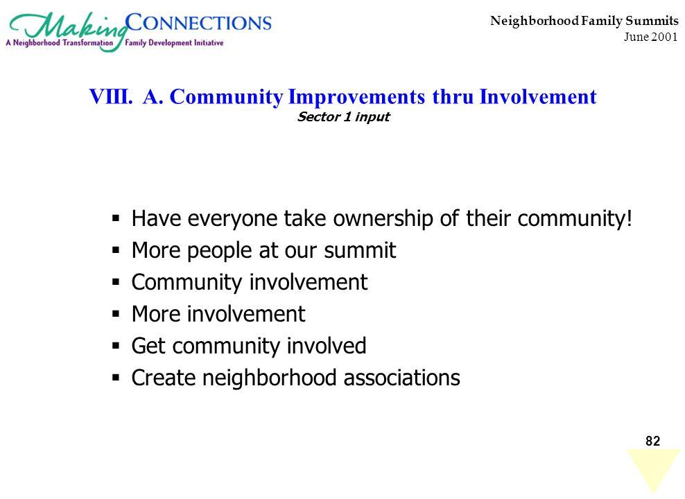 82 Neighborhood Family Summits June 2001 VIII. A. Community Improvements thru Involvement Sector 1 input Have everyone take ownership of their communi