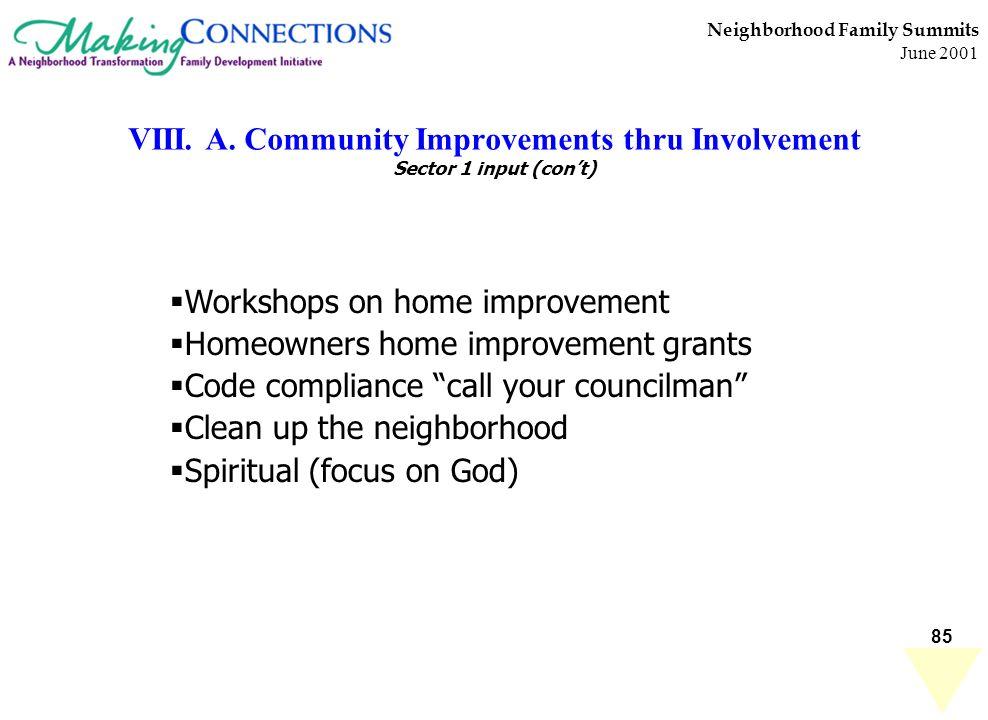 85 Neighborhood Family Summits June 2001 VIII. A. Community Improvements thru Involvement Sector 1 input (cont) Workshops on home improvement Homeowne