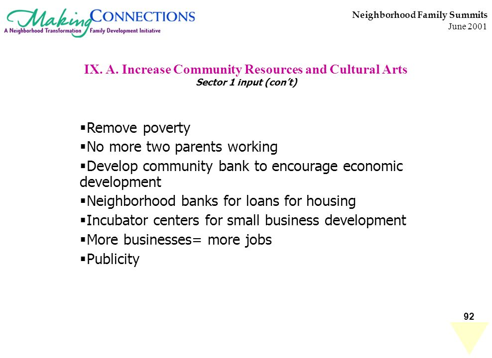 92 Neighborhood Family Summits June 2001 IX. A. Increase Community Resources and Cultural Arts Sector 1 input (cont) Remove poverty No more two parent