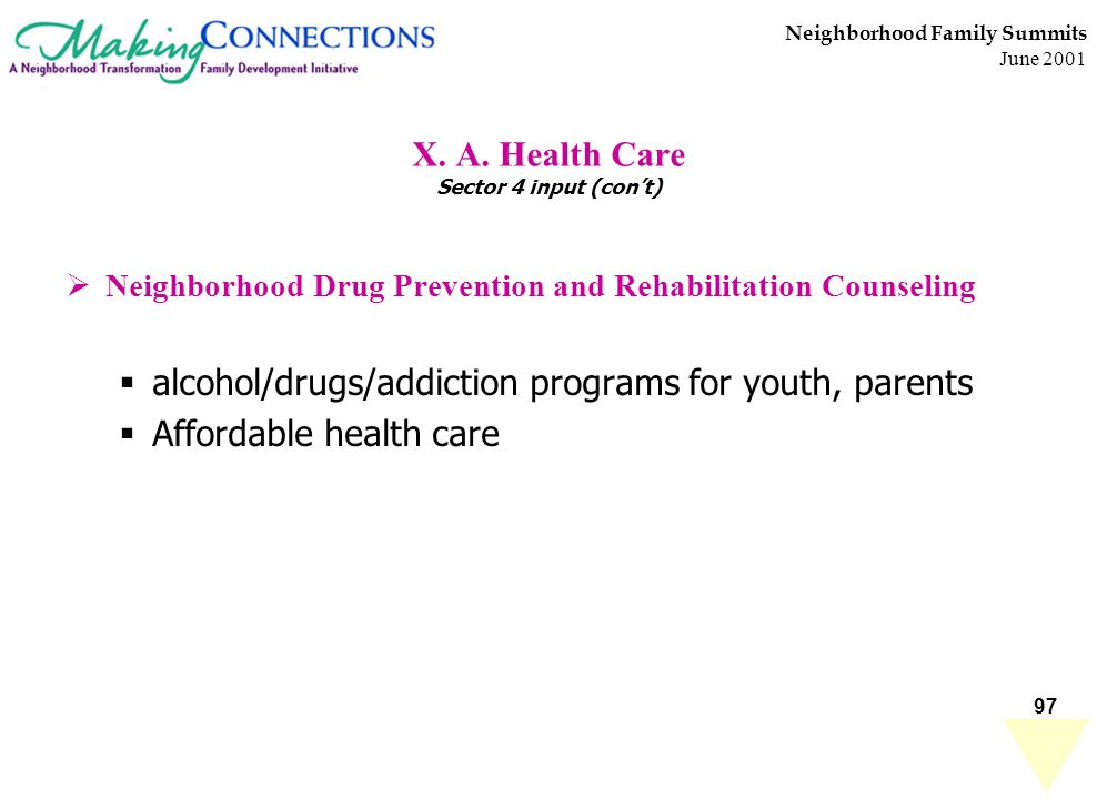 97 Neighborhood Family Summits June 2001 X. A. Health Care Sector 4 input (cont) Neighborhood Drug Prevention and Rehabilitation Counseling alcohol/dr