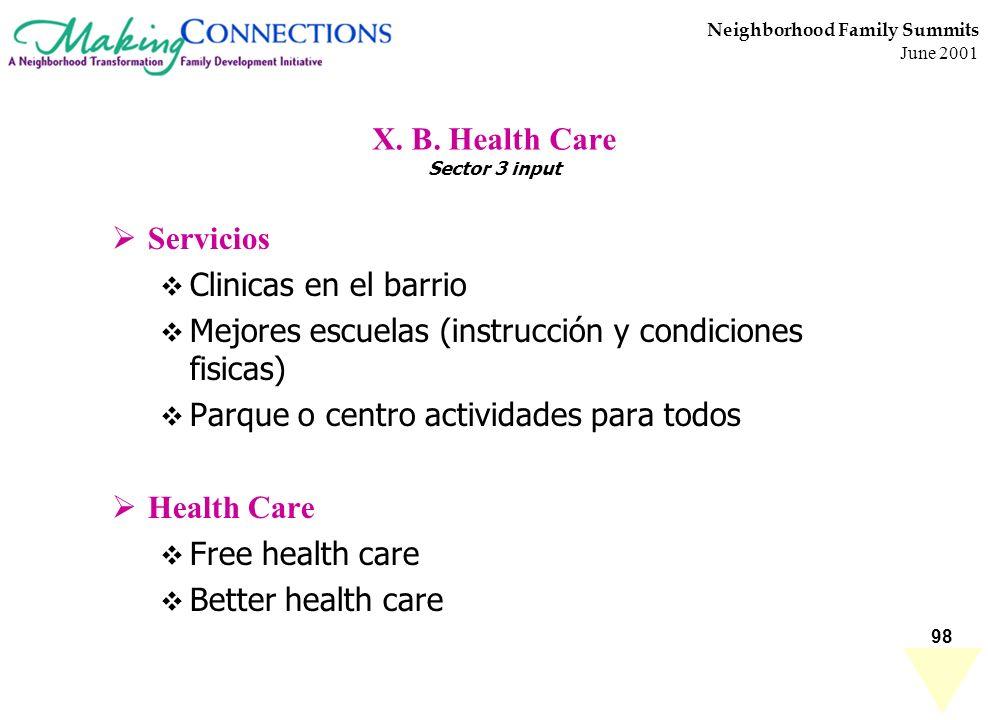 98 Neighborhood Family Summits June 2001 X. B. Health Care Sector 3 input Servicios Clinicas en el barrio Mejores escuelas (instrucción y condiciones