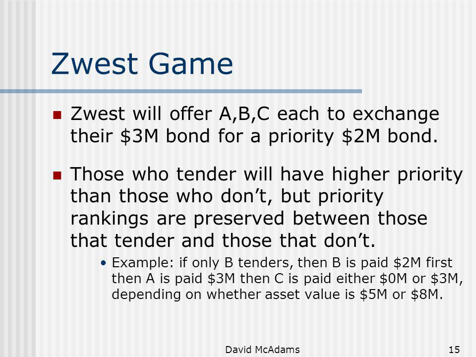 David McAdams15 Zwest Game Zwest will offer A,B,C each to exchange their $3M bond for a priority $2M bond. Those who tender will have higher priority