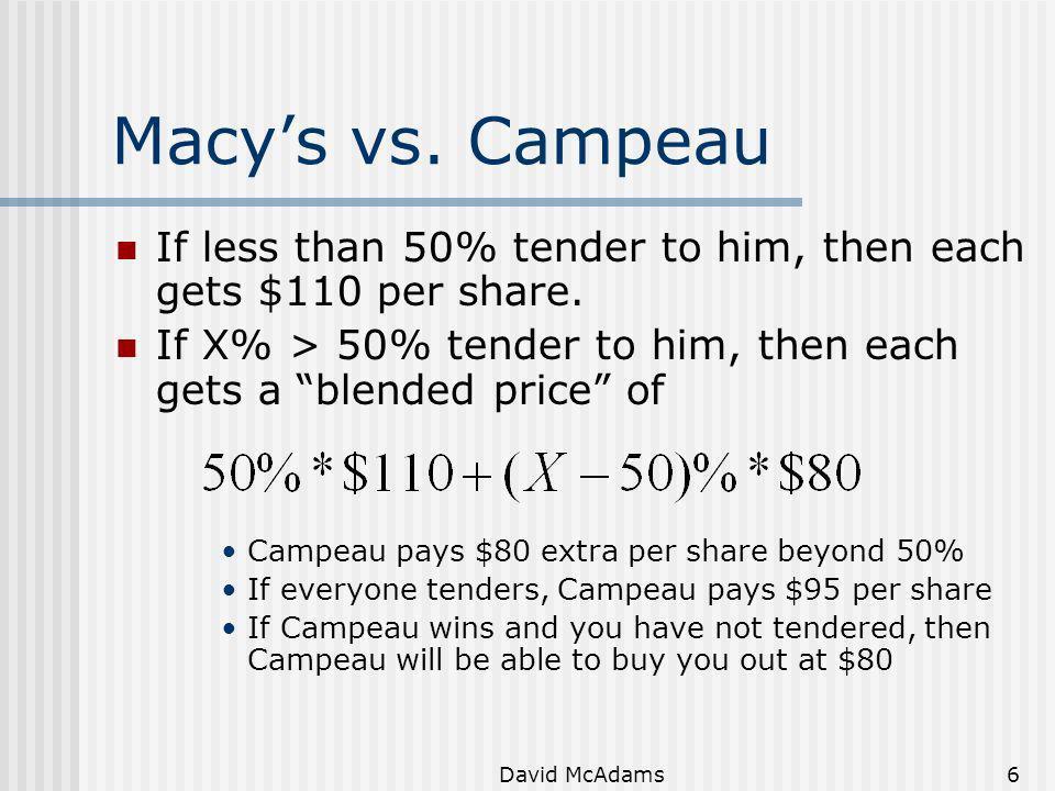 David McAdams6 Macys vs. Campeau If less than 50% tender to him, then each gets $110 per share. If X% > 50% tender to him, then each gets a blended pr
