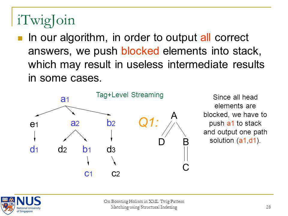 On Boosting Holism in XML Twig Pattern Matching using Structural Indexing 28 iTwigJoin In our algorithm, in order to output all correct answers, we pu