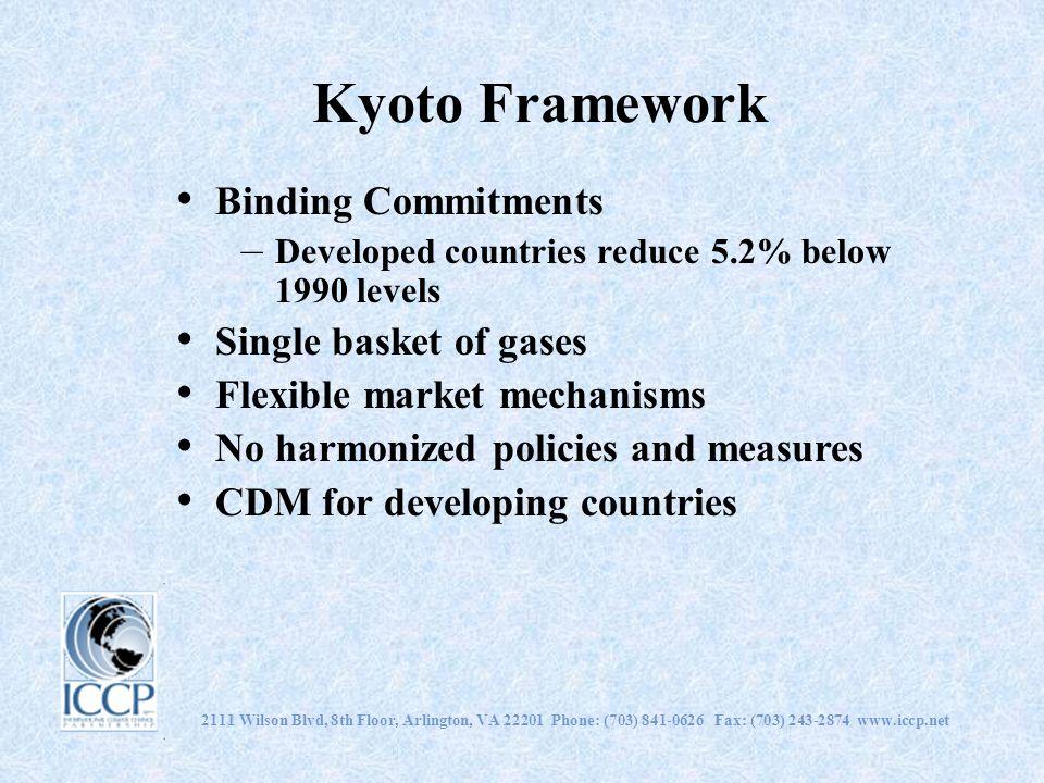 2111 Wilson Blvd, 8th Floor, Arlington, VA 22201 Phone: (703) 841-0626 Fax: (703) 243-2874 www.iccp.net Kyoto Framework Binding Commitments – Develope