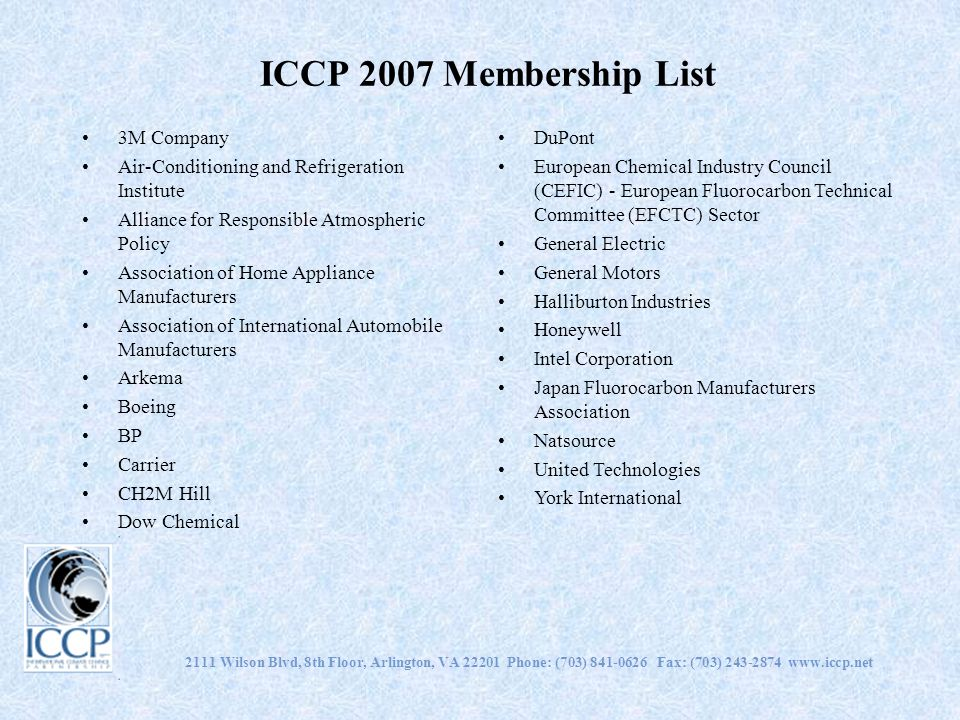 2111 Wilson Blvd, 8th Floor, Arlington, VA 22201 Phone: (703) 841-0626 Fax: (703) 243-2874 www.iccp.net ICCP 2007 Membership List 3M Company Air-Condi