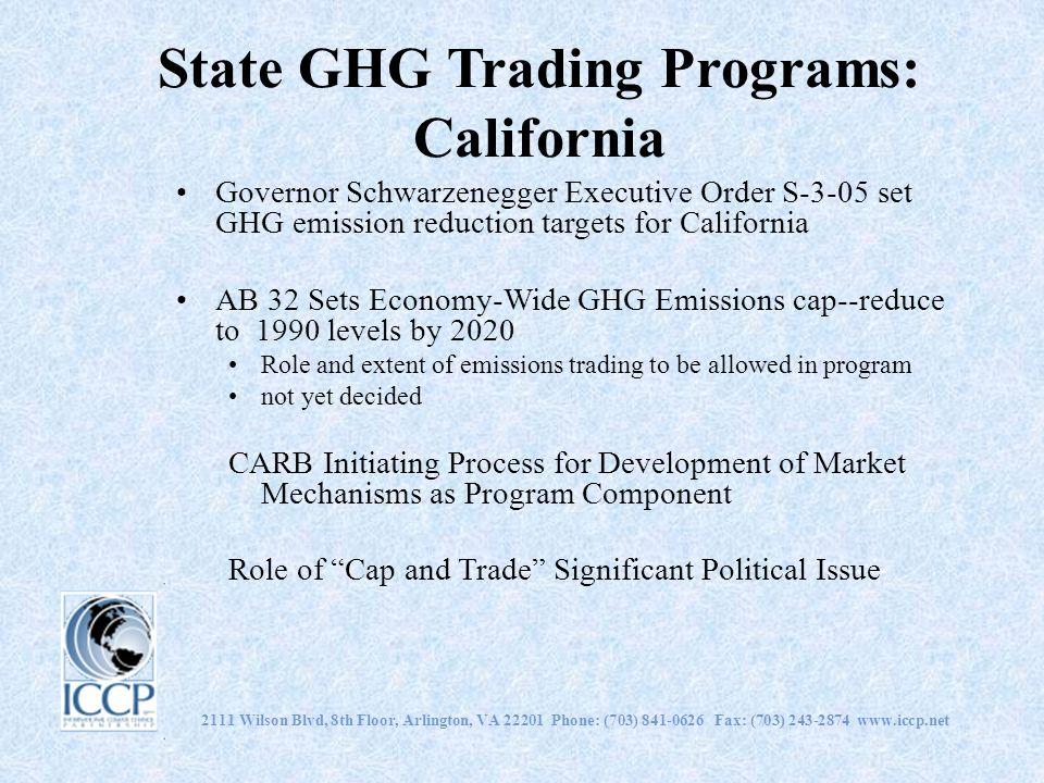 2111 Wilson Blvd, 8th Floor, Arlington, VA 22201 Phone: (703) 841-0626 Fax: (703) 243-2874 www.iccp.net State GHG Trading Programs: California Governo