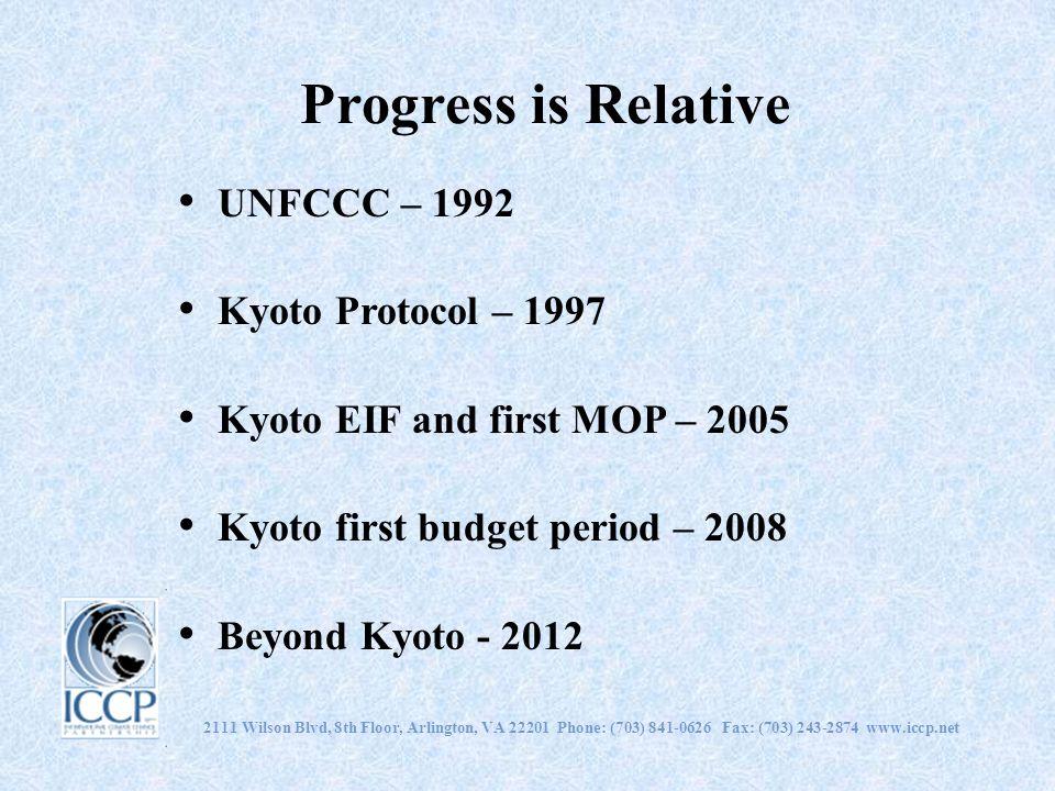 2111 Wilson Blvd, 8th Floor, Arlington, VA 22201 Phone: (703) 841-0626 Fax: (703) 243-2874 www.iccp.net Progress is Relative UNFCCC – 1992 Kyoto Proto