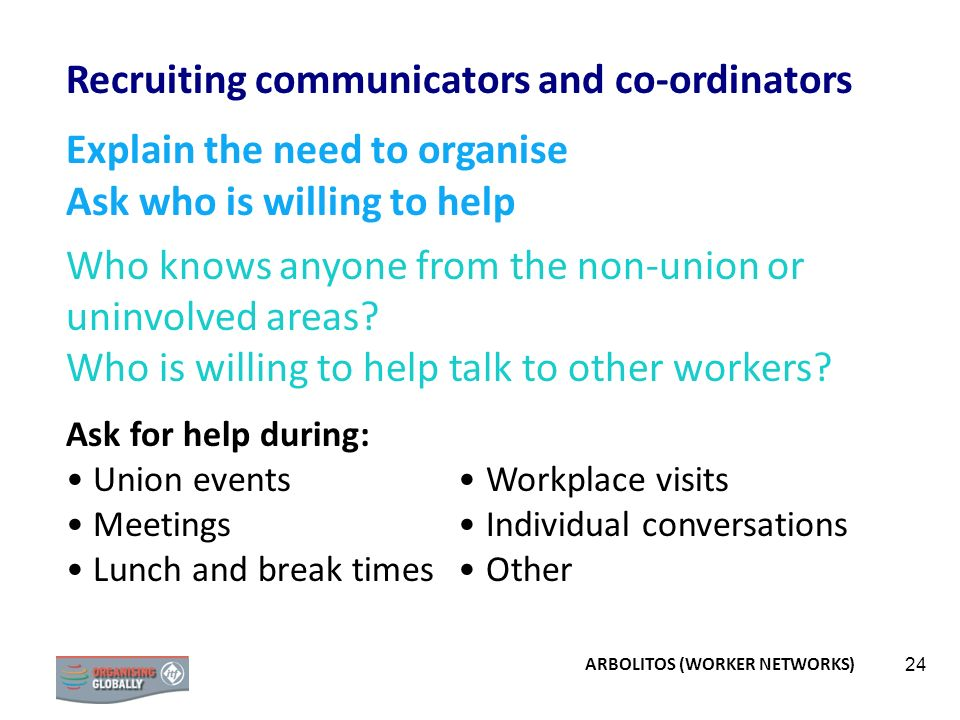 24 Recruiting communicators and co-ordinators Explain the need to organise Ask who is willing to help Who knows anyone from the non-union or uninvolve
