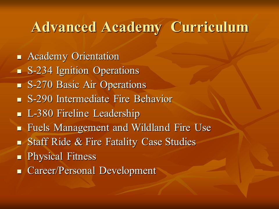 Advanced Academy Curriculum Academy Orientation Academy Orientation S-234 Ignition Operations S-234 Ignition Operations S-270 Basic Air Operations S-2