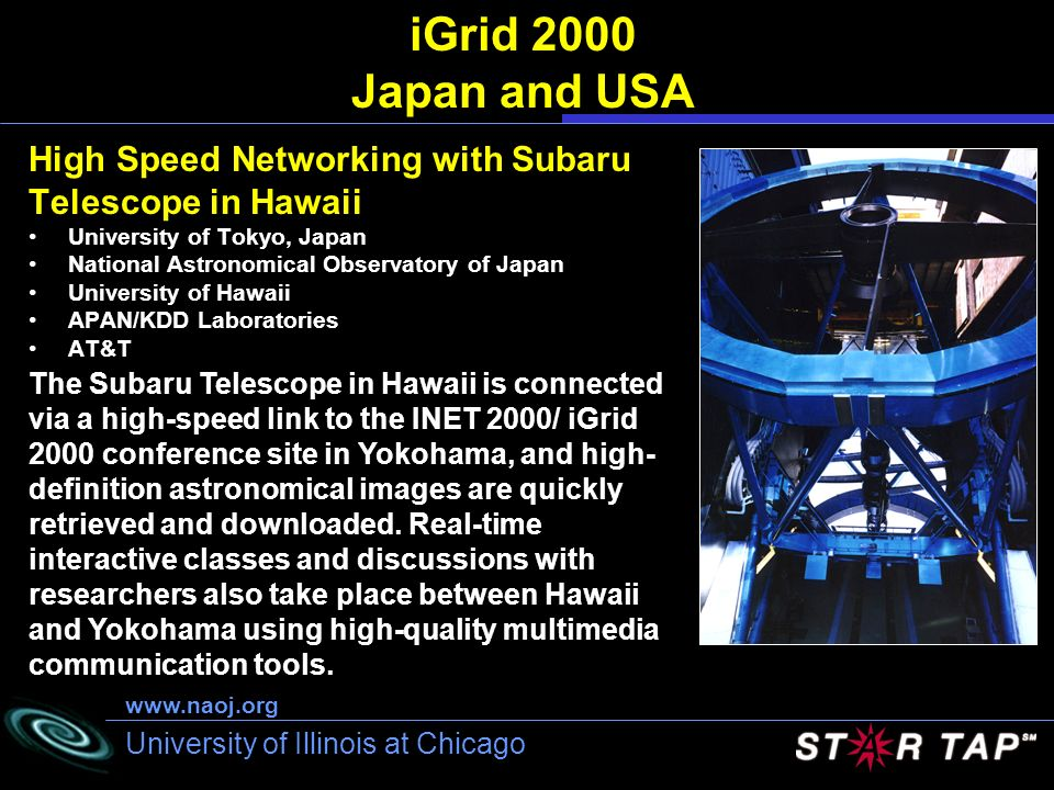 University of Illinois at Chicago iGrid 2000 Japan and USA High Speed Networking with Subaru Telescope in Hawaii University of Tokyo, Japan National A