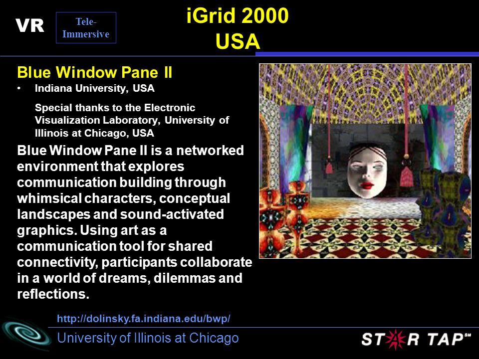 University of Illinois at Chicago iGrid 2000 USA Blue Window Pane II Indiana University, USA Special thanks to the Electronic Visualization Laboratory