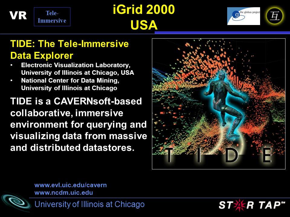 University of Illinois at Chicago iGrid 2000 USA TIDE: The Tele-Immersive Data Explorer Electronic Visualization Laboratory, University of Illinois at
