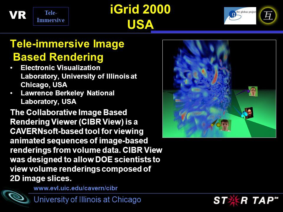 University of Illinois at Chicago iGrid 2000 USA Tele-immersive Image Based Rendering Electronic Visualization Laboratory, University of Illinois at C
