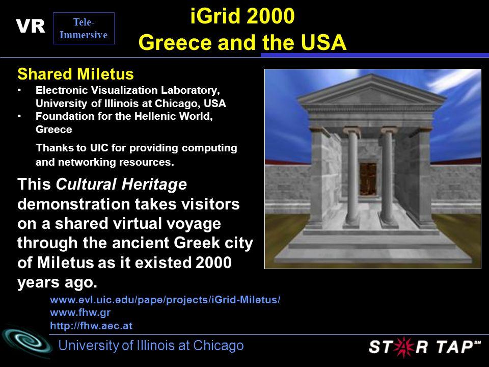 University of Illinois at Chicago iGrid 2000 Greece and the USA Shared Miletus Electronic Visualization Laboratory, University of Illinois at Chicago,