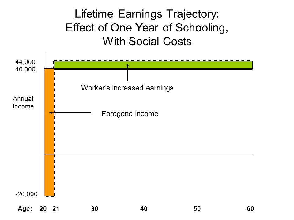 Lifetime Earnings Trajectory: Effect of One Year of Schooling, With Social Costs 40,000 44,000 -20,000 Age: 20 21 30 40 50 60 Annual income Workers in