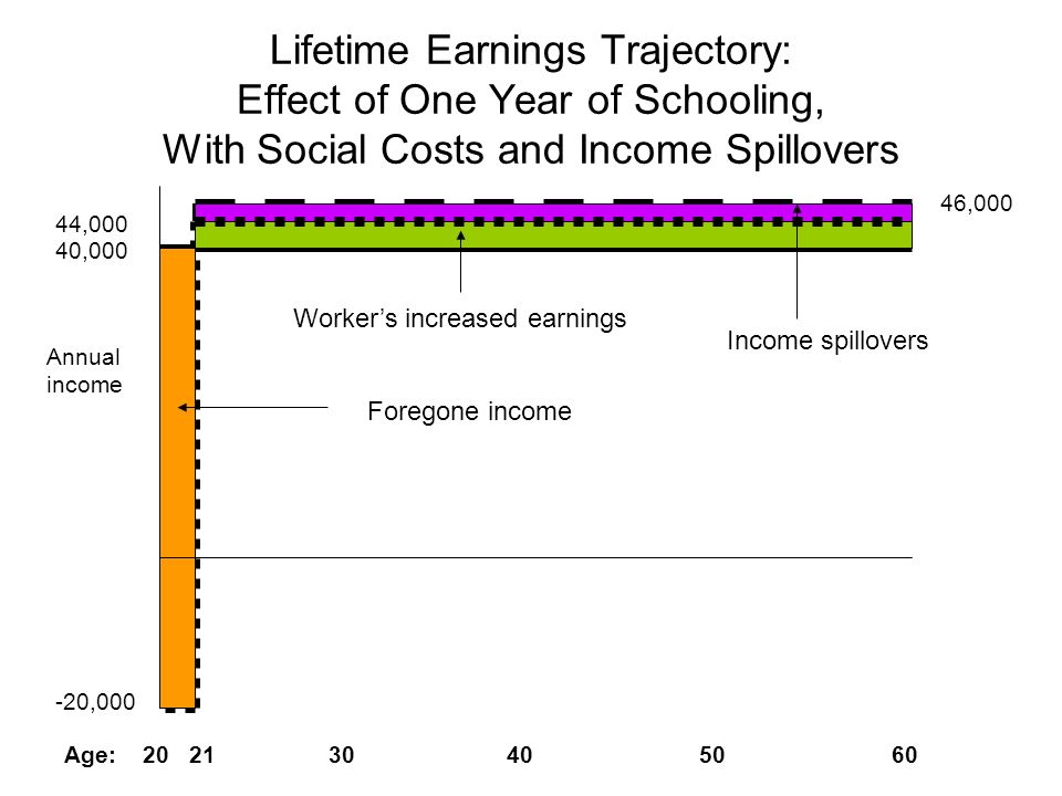 Lifetime Earnings Trajectory: Effect of One Year of Schooling, With Social Costs and Income Spillovers 40,000 44,000 -20,000 46,000 Age: 20 21 30 40 5