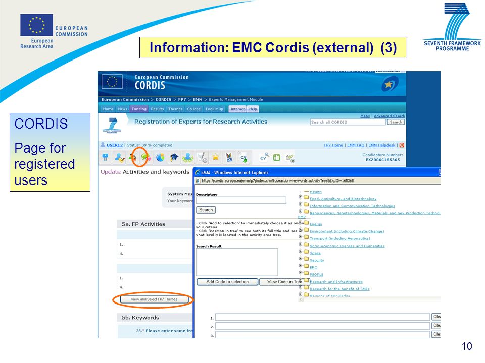 10 Information: EMC Cordis (external) (3) CORDIS Page for registered users