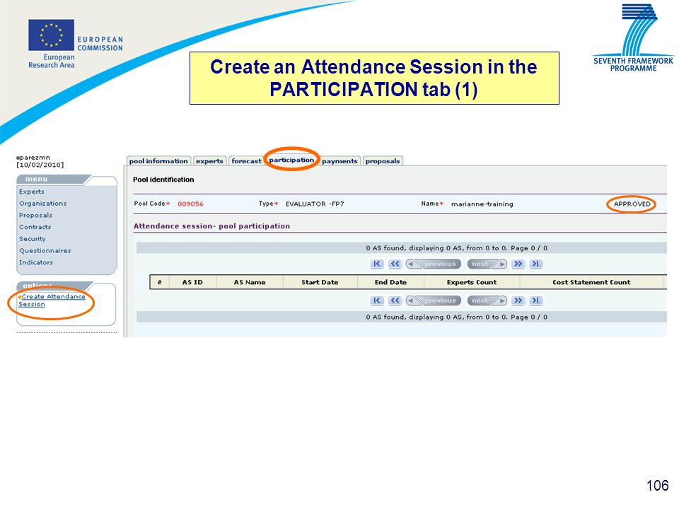 106 Create an Attendance Session in the PARTICIPATION tab (1)