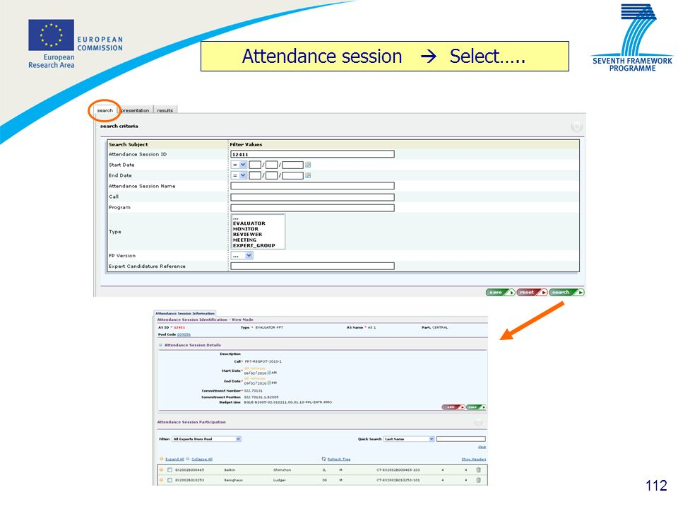 112 Attendance session Select…..