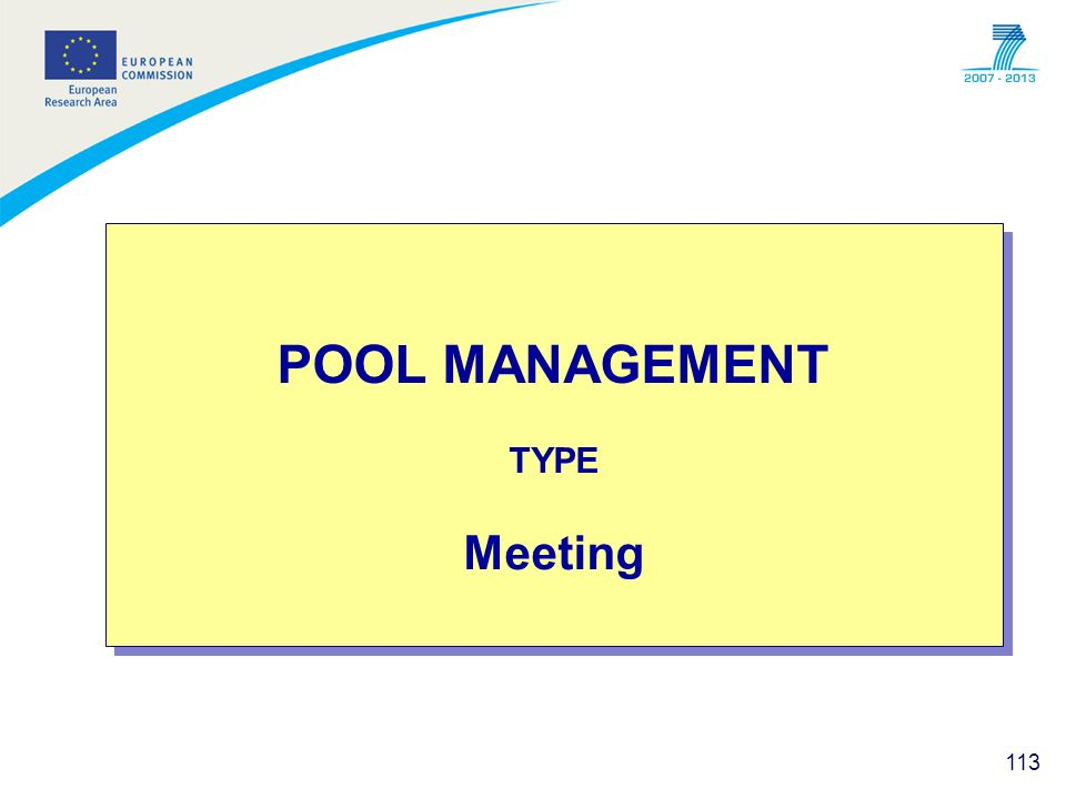 113 POOL MANAGEMENT TYPE Meeting