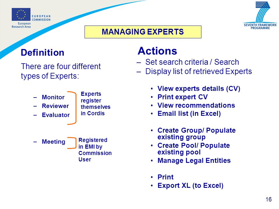 16 MANAGING EXPERTS Definition There are four different types of Experts: –Monitor –Reviewer –Evaluator –Meeting Actions –Set search criteria / Search