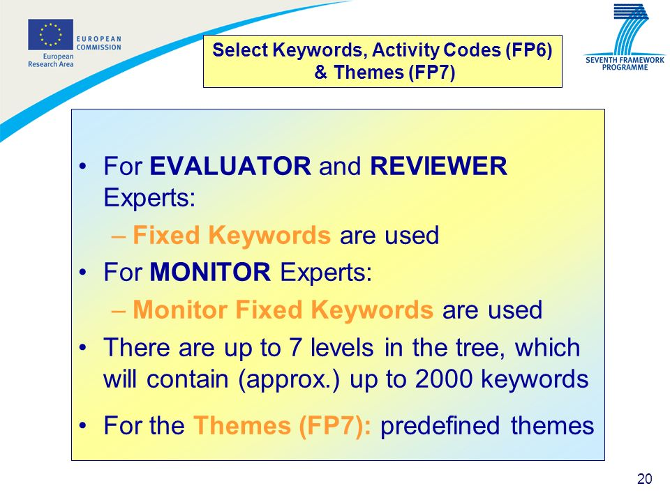 20 Select Keywords, Activity Codes (FP6) & Themes (FP7) For EVALUATOR and REVIEWER Experts: –Fixed Keywords are used For MONITOR Experts: –Monitor Fix