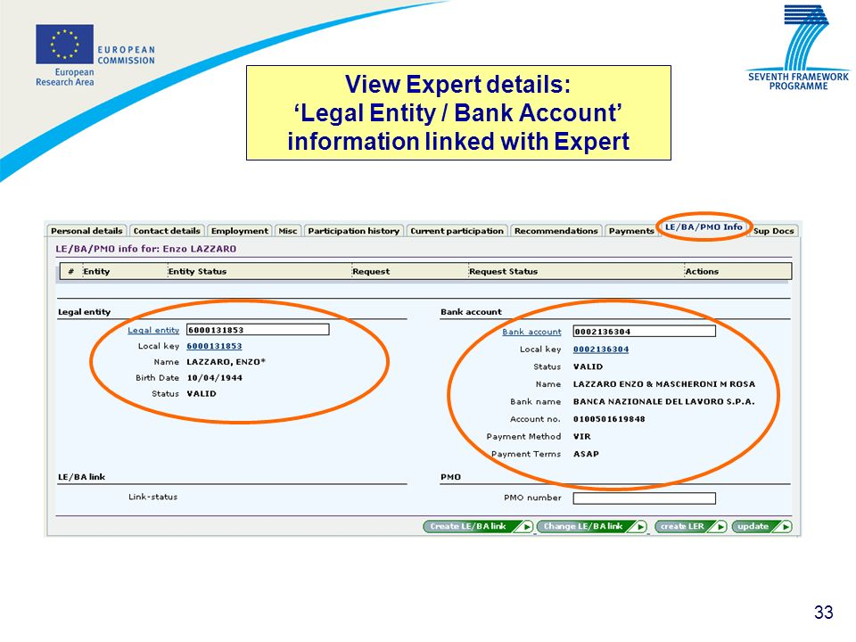 33 View Expert details: Legal Entity / Bank Account information linked with Expert