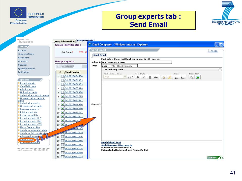 41 Group experts tab : Send Email