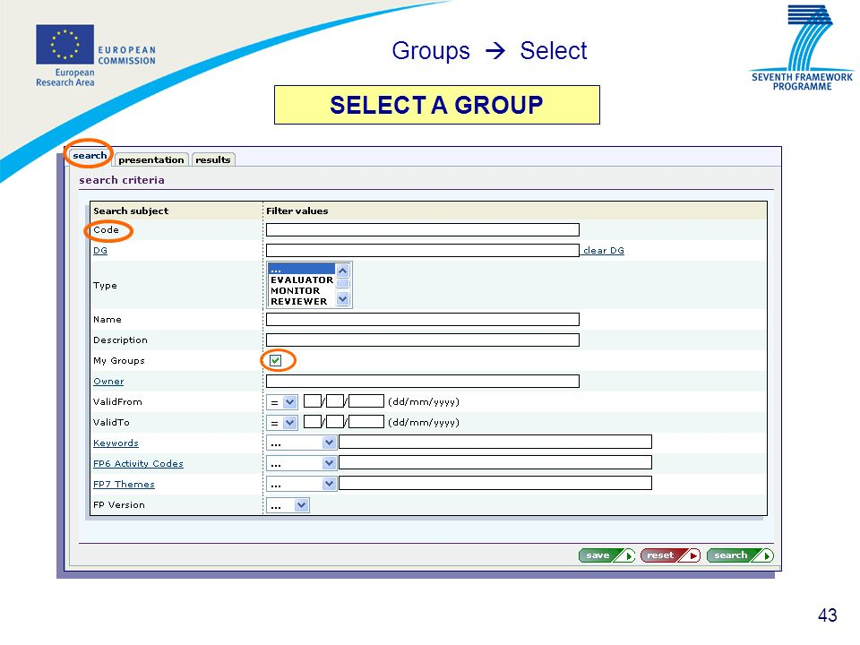 43 SELECT A GROUP Groups Select