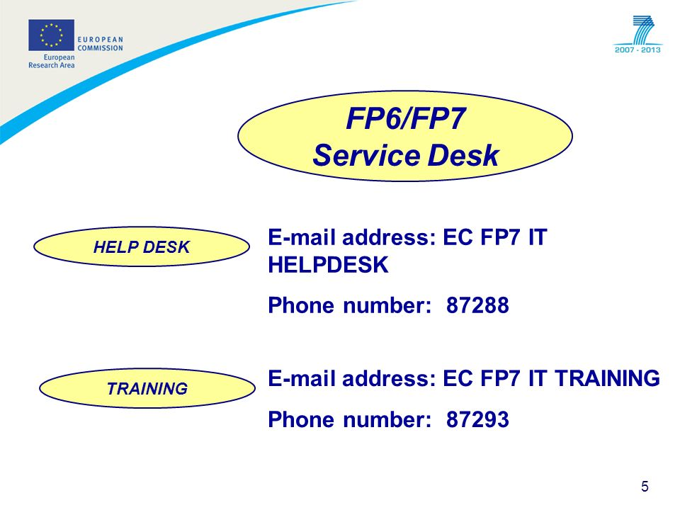 5 FP6/FP7 Service Desk HELP DESK TRAINING E-mail address: EC FP7 IT HELPDESK Phone number: 87288 E-mail address: EC FP7 IT TRAINING Phone number: 8729